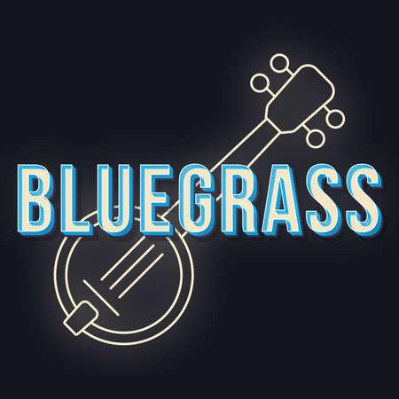 Bluegrass vintage 3d vector lettering. Retro bold font, typeface. Pop art stylized text. Old school style letters. 90s, 80s poster, banner, t shirt typography design. Black color background Vetores