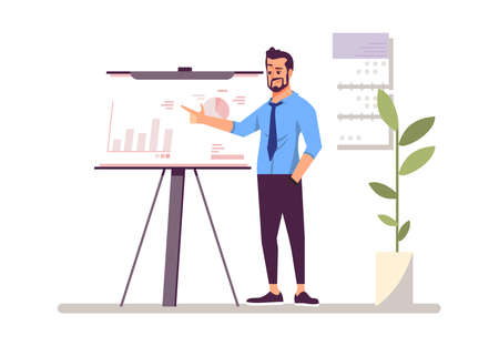Top manager, businessman flat vector illustration. Corporate training, conference, business analytics, annual report. Entrepreneur near whiteboard isolated cartoon character. Marketer, boss, leader Ilustração