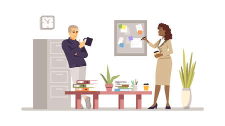 Partners, coworkers, colleagues flat vector illustration. Task, project management. Managers discussing work isolated cartoon character. Office workers planning. Dark skin woman and man with laptop