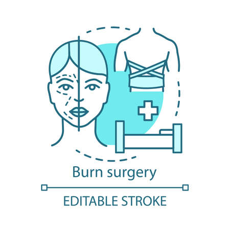 Burn surgery concept icon. Burn and wound treatment idea thin line illustration. Reconstructive plastic surgery. Vector isolated outline drawing. Plastic surgeons. Editable stroke Stock Illustratie