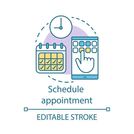 Schedule appointment concept icon. Meeting arrangement idea thin line illustration. Clinic center. Planning. Attendance timetable. Vector isolated outline drawing. Editable stroke Stok Fotoğraf - 128320603