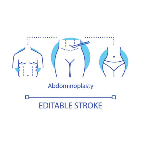 Abdominoplasty concept icon. Aesthetic cosmetic surgery. Tummy tuck procedure idea thin line illustration. Flatten belly. Liposuction. Vector isolated outline drawing. Editable stroke
