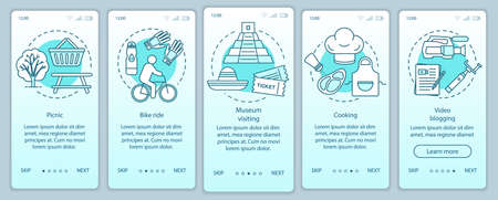 Family activities with kids onboarding mobile app page screen vector template. Bike ride. Walkthrough website steps with linear illustrations. Museum visiting. UX, UI, GUI smartphone interface concept