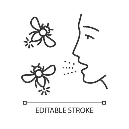 Allergies to insect stings linear icon. Hypersensitivity of immune system. Human face and flying insects. Thin line illustration. Contour symbol. Vector isolated outline drawing. Editable stroke
