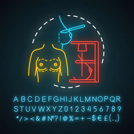 Breast reduction neon light icon. Mammoplasty procedure. Boob job. Plastic surgery. Aesthetically breast. Glowing sign with alphabet, numbers and symbols. Vector isolated illustration Ilustração