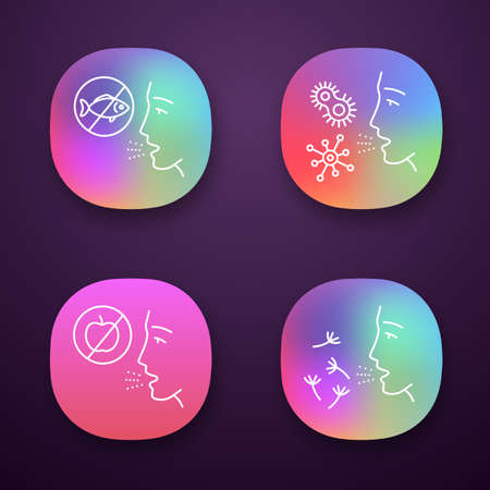 Allergies app icons set. Food, pollen, bacteria intolerance. Allergen sources. Allergic diseases. Medical problem. UIUX user interface. Web or mobile applications. Vector isolated illustrations