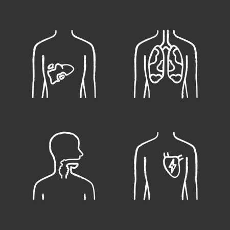 Ill human organs chalk icons set. Sore liver and lungs. Aching throat. Unhealthy heart. Sick internal body parts. Isolated vector chalkboard illustrations