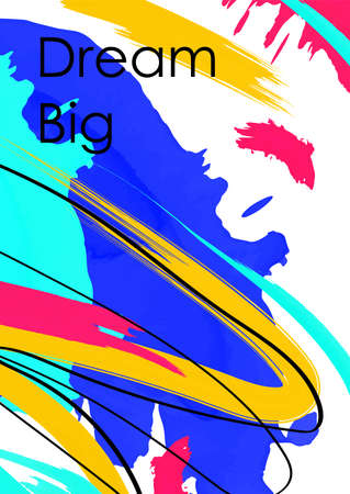 Dream big inscription abstract postcard template. Motivational phrase on multicolored brush strokes background. Challenge, aspiration, goal motto. Oil paint chaotic splashes, banner, poster