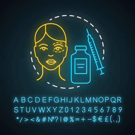 Aesthetic surgery neon light icon. Facial and body surgical operation. Reconstructive procedure. Appearance. Glowing sign with alphabet, numbers and symbols. Vector isolated illustration