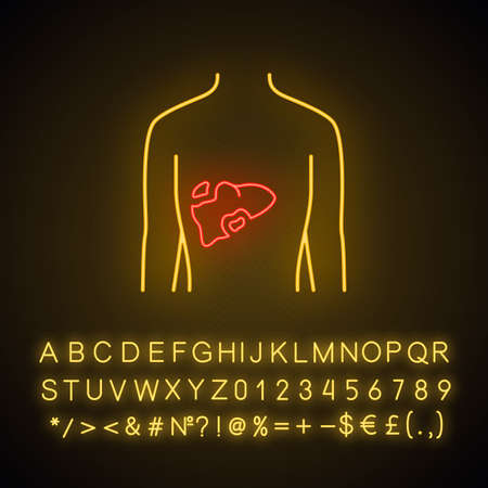 Ill liver neon light icon. Hepatitis, cirrhosis. Sore human organ. Unhealthy digestive gland. Gastrointestinal tract.  Glowing sign with alphabet, numbers and symbols. Vector isolated illustration