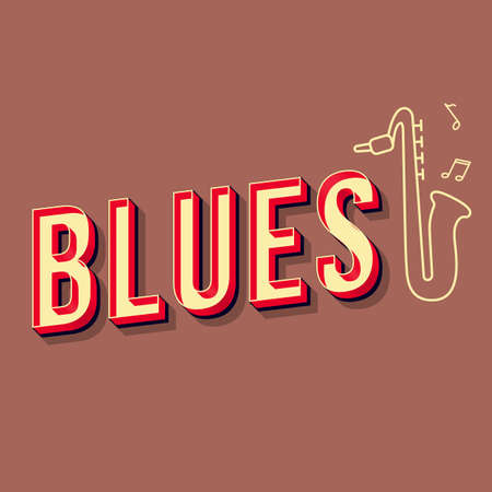 Blues vintage 3d vector lettering. Retro concert bold font, typeface. Pop art stylized text. Old school style letters. 90s, 80s poster, banner, t shirt typography design. Redwood color background
