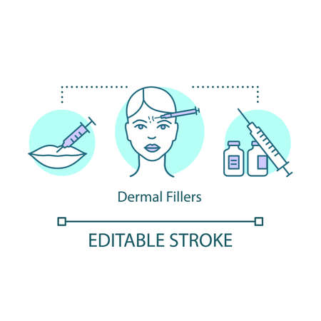 Dermal fillers concept icon. Injected substances idea thin line illustration. Cosmetic surgery. Non-surgical procedure. Facial rejuvenation treatment. Vector isolated outline drawing. Editable stroke Çizim