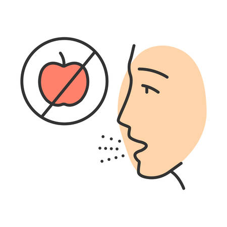 Fruits allergy color icon. Food intolerance. Human allergic to apples. Cause of itching, rash, blisters in mouth. Restrictive diet. Medical problem. Isolated vector illustration