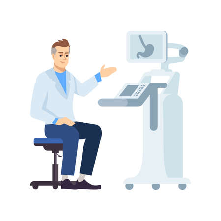 Gastroenterologist at work flat vector illustration. Professional doctor at workplace isolated cartoon character on white background. Abdominal ultrasound. Technical medical equipment. Stomach exam