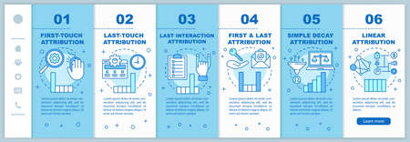 Attribution modeling types onboarding mobile web pages vector template. Responsive smartphone website interface idea with linear illustrations. Webpage walkthrough step screens. Color concept Banque d'images - 129558397