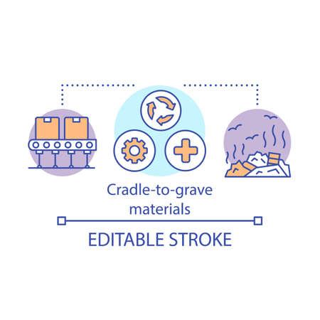 Cradle-to-grave materials,concept icon. Zero waste idea thin line illustration. Environment polluition issue. Waste, garbage management. Vector isolated outline drawing. Editable stroke