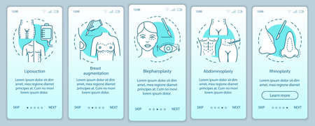 Surgical body sculpting onboarding mobile app page screen vector template. Abdominoplasty. Walkthrough website steps with linear illustrations. UX, UI, GUI smartphone interface concept