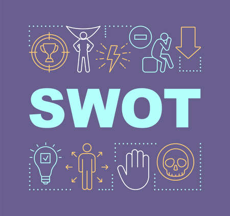SWOT purple word concepts banner. Strength, weakness, opportunity, threat. Presentation, website. Starting project. Isolated lettering typography idea with linear icons. Vector outline illustration
