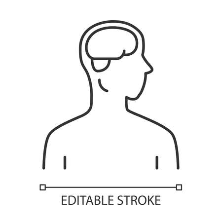 Healthy brain linear icon. Human organ in good health. Functioning nervous system. Thin line illustration. Contour symbol. Vector isolated outline drawing. Editable stroke