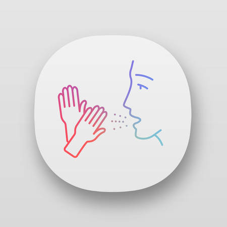 Latex allergy app icon. Allergic disease. Asthma caused by rubber gloves. latex allergens in air. Contact dermatitis. UIUX user interface. Web or mobile applications. Vector isolated illustrations