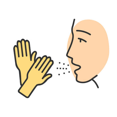 Latex allergy color icon. Allergic disease. Asthma caused by rubber gloves. latex allergens in air. Man inhale allergenic proteins. Contact dermatitis. Isolated vector illustration