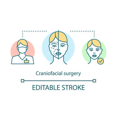 Craniofacial surgery concept icon. Head, face, neck deformities idea thin line illustration. Plastic and reconstructive surgery. Vector isolated outline drawing. Editable stroke