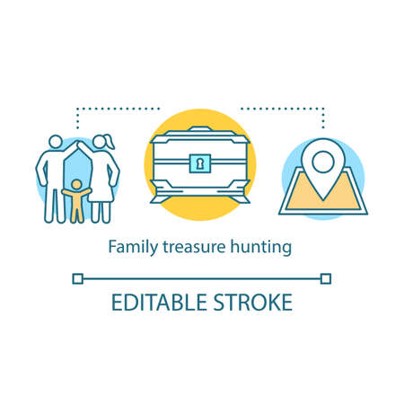 Family treasure hunting concept icon. Time together idea thin line illustration. Geocaching. Search for treasure. Searching for retrieve artifacts. Vector isolated outline drawing. Editable stroke