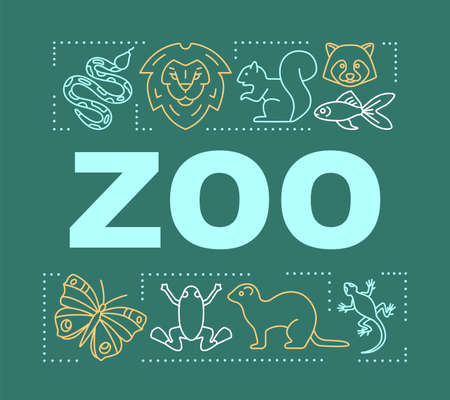 Zoo word concepts banner. Family time together. Animal park. Presentation, website. Menagerie with wild animals. Isolated lettering typography idea with linear icons. Vector outline illustration