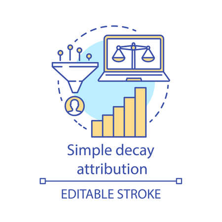 Simply decay attribution concept icon. Attribution modeling type idea thin line illustration. Multi-touch analyze. Conversion model. Digital marketing. Vector isolated outline drawing. Editable stroke Illustration
