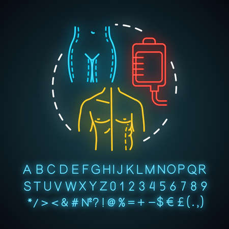 Liposuction neon light icon. Fat suction. Slim body silhouette. Plastic surgery procedure. Fat removal. Glowing sign with alphabet, numbers and symbols. Vector isolated illustration Ilustração