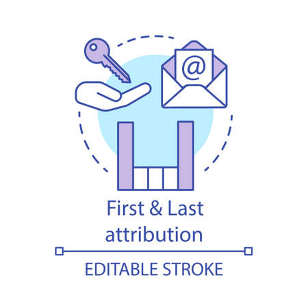 First and Last attribution concept icon. Attribution modeling types idea thin line illustration. Digital marketing channel. Conversion model. Vector isolated outline drawing. Editable stroke Ilustração