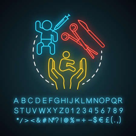 Pediatric plastic surgery neon light icon. Childcare. Improve kids appearance. Reconstructive and cosmetic procedures. Glowing sign with alphabet, numbers and symbols. Vector isolated illustration