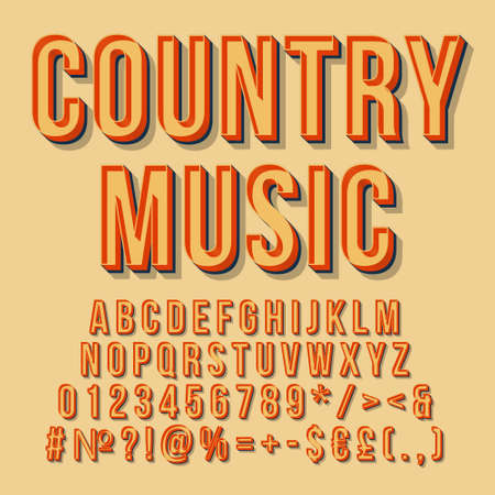 Country music vintage 3d vector lettering. Retro bold font, typeface. Pop art stylized text. Old school style letters numbers, symbols, elements pack. 90s, 80s poster, banner. Mellow color background