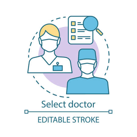 Select doctor concept icon. Medical staff idea thin line illustration. Healthcare and medicine. Find specialist. General practitioner, therapist. Vector isolated outline drawing. Editable stroke