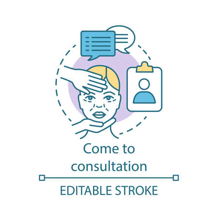 Come to consultation concept icon. Medical check up idea thin line illustration. Surgery center. Physical examination. Medical practitioner. Vector isolated outline drawing. Editable stroke