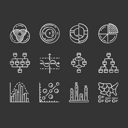 Diagrams chalk icons set. Schematic representation of info. Statistics data visualization. Analytical report. Science, computer technologies, business. Isolated vector chalkboard illustrations Çizim