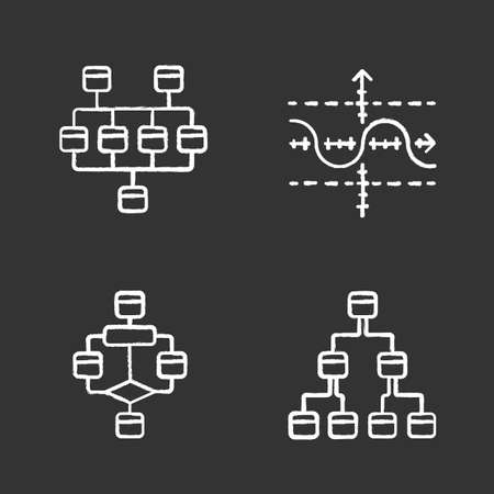 Diagrams chalk icons set. Network, tree, function graph, flowchart. Planning, process flow. Statistics data visualization. Symbolic representation of info. Isolated vector chalkboard illustrations Reklamní fotografie - 129558430