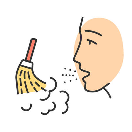 Dust allergy color icon. Airborne allergen source. Allergic reaction of immune system. Man breathes house dust. Reason of sneezing. Respiratory disease. Isolated vector illustration Ilustração