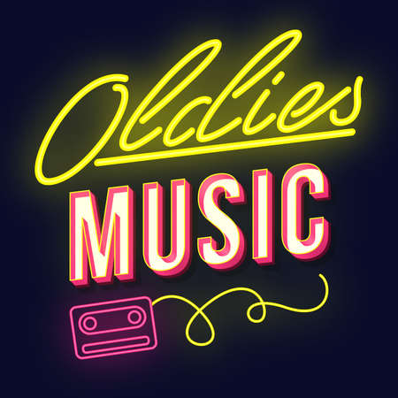 Oldies music vintage 3d vector lettering. Retro party bold font, typeface. Pop art stylized text. Old school style neon light letters. 90s, 80s poster, banner. Dark violet color background