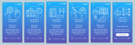 Attribution modeling types onboarding mobile app page screen vector template. Diagrams, charts walkthrough website steps with linear illustrations. UX, UI, GUI smartphone interface concept Banque d'images - 129558432