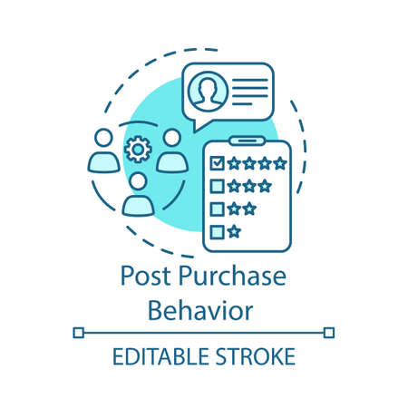 Post purchase behaviour turquoise concept icon. Feedback, customer comment, review idea thin line illustration. Rating vector isolated outline drawing. Satisfied consumer. Editable stroke