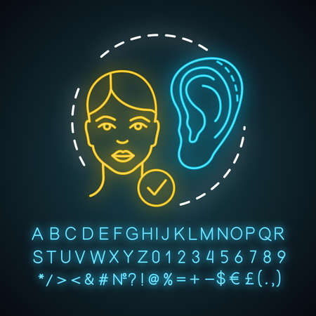 Otoplasty neon light icon. Cosmetic ear surgery. Surgical reshaping. Ear size, shape and proportion change. Glowing sign with alphabet, numbers and symbols. Vector isolated illustration
