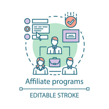 Affiliate programs concept icon. Affiliate marketing idea thin line illustration. Partner program and referrals. Product promotion. Word of mouth. Vector isolated outline drawing. Editable stroke