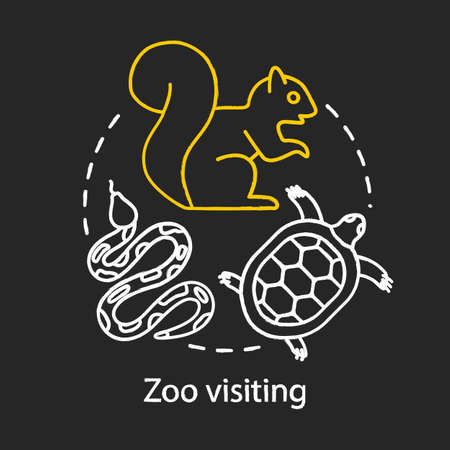 Zoo visiting chalk concept icon. Family time together idea. Kids learn about animals. Animal park, sanctuary, menagerie. Vector isolated chalkboard illustration Ilustração