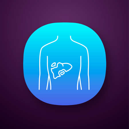 Ill liver app icon. Hepatitis, cirrhosis. Sore human organ. Unhealthy digestive gland. Gastrointestinal tract. UIUX user interface. Web or mobile application. Vector isolated illustration