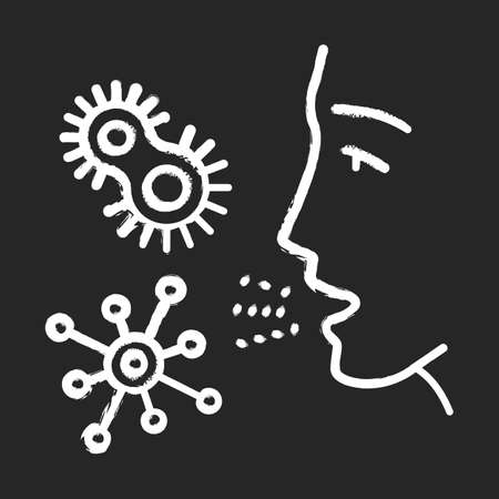 Dust allergy chalk icon. Allergic reaction to bacteria. Pathogen inhalation. Protozoan diseases. Respiratory infections in air. Body reaction to allergens. Isolated vector chalkboard illustration