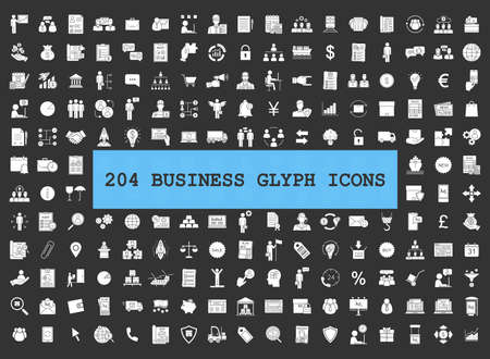 Business glyph icons big set. Silhouette symbols. Financing and budget, money planning. Business analytics. Delivery, logistics and distribution. Silhouette symbols. Vector isolated illustration