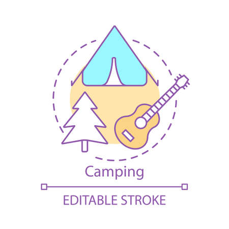 Camping concept icon. Family time together idea thin line illustration.  Family trip. Overnight staying in tent. Outdoor accommodation. Vector isolated outline drawing. Editable stroke