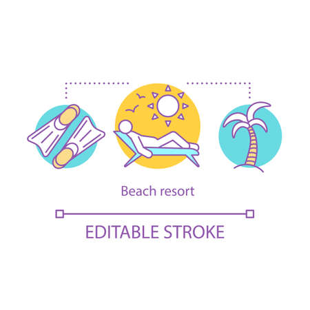 Beach resort concept icon. Time together idea thin line illustration. Marine travel. Maritime trip. Outdoor relaxation. Vacation. Vector isolated outline drawing. Editable stroke 矢量图像