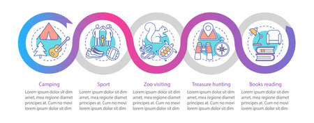 Family time together vector infographic template. Business presentation design element. Sport. Data visualization with five steps and options. Process timeline chart. Workflow layout with linear icons